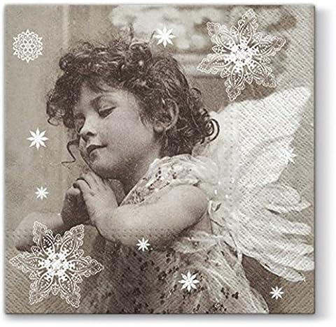 20 Servietten Engel im Gebet / Nostalgie / Weihnachten 33x33cm