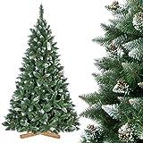 FairyTrees Albero di Natale Artificiale Pino, innevato Bianco Naturale, Materiale PVC, Vere pigne, incl. Supporto in Legno, 220cm