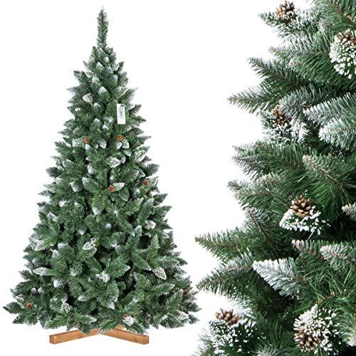 FairyTrees Weihnachtsbaum künstlich Kiefer, Natur-Weiss beschneit, Material PVC, echte Tannenzapfen, inkl. Holzständer, 220cm -