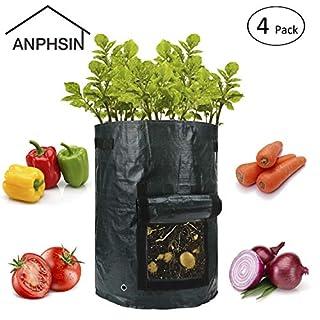 ANPHSIN 4 Stück Pflanzsack(Per Stück 10 Gallonen), Pflanzbeutel Pflanztasche Wachsende Tasche Kartoffelsack zum Kartoffeln, Tomaten, Kräuter usw