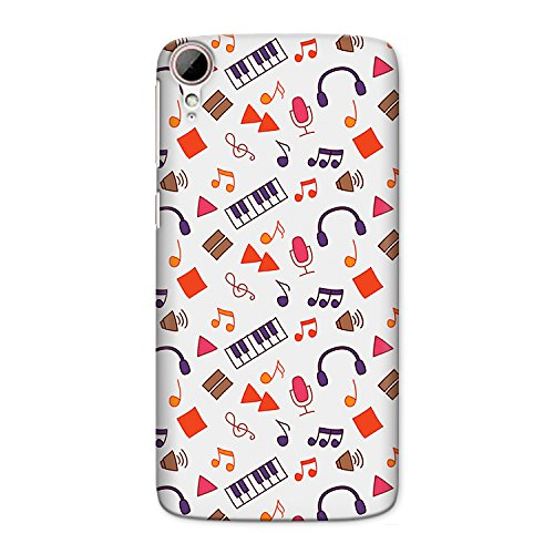 CrazyInk Premium 3D Back Cover for HTC 828 - MUSIC PATTERN