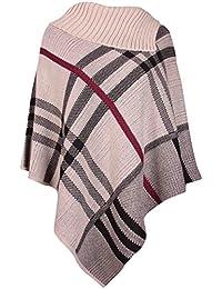 Pour Femmes À Carreaux Imprimé Femme Élastique Tricoté Col Chemise Cape Châle Enveloppant Tricot Poncho Haut