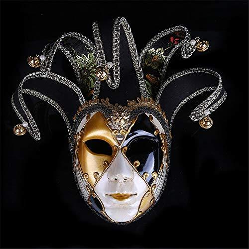 TTXLY Vintage Clown Maske gemalt Halloween Party Masken venezianischen Jester Joker Maske Maskerade handgemalte Wand dekorative Mardi Gras Geschenk,Black