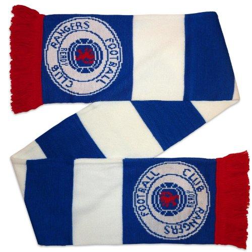 Rangers FC – Bufanda a franjas – Tejido jacquard – Azul y blanco