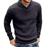 Yvelands Herren Strickpullover Pullover Männer Winter Langarm Solide Tops Bluse T-Shirt Sweatshirt (CN-2XL,Grau)