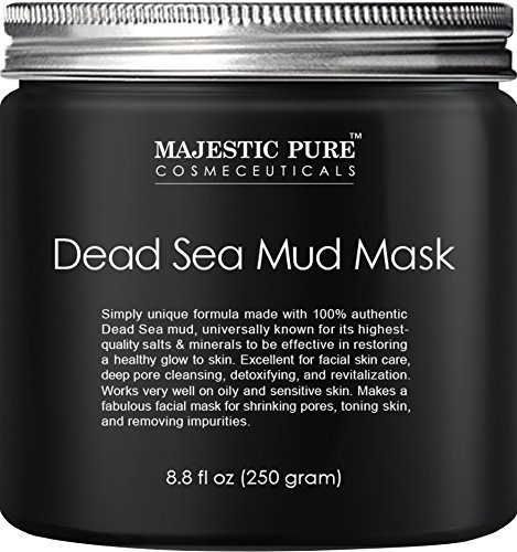 Majestic Pure Dead Sea Mud Mask 8.8 Oz - Spa's Premium Quality Facial Cleanser for All Skin Types - 100% Natural Formula, Absorbs Excess Oil and Removes Dead Skin Cells to Reveal Fresh and Soft Skin -USA- -