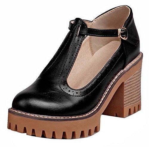 AgooLar Femme Couleur Unie PU Cuir à Talon Haut Rond Boucle Chaussures Légeres Noir