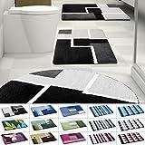 Design Badematte | rutschfester Badvorleger | viele Größen | zum Set kombinierbar | Öko-Tex 100 zertifiziert | viele Muster zur Auswahl | Quadrate - Schwarz (70 x 120 cm)