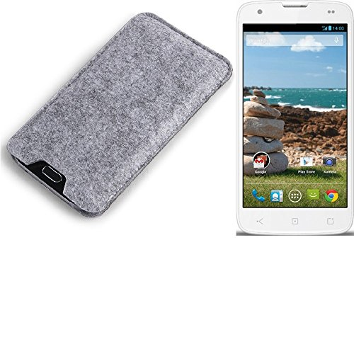 K-S-Trade Filz Schutz Hülle für MobiWire Ahiga Schutzhülle Filztasche Filz Tasche Case Sleeve Handyhülle Filzhülle grau