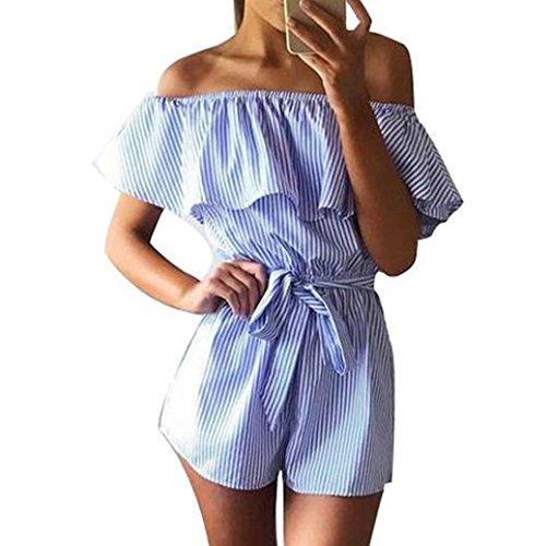 Sexy Animal Outfit (WOCACHI Damen Sommer Jumpsuits Frauen Art und Weise weg vom Schulter Streifen Muster Bowknot Bodysuit Overall Playsuit Blau (S/32,)