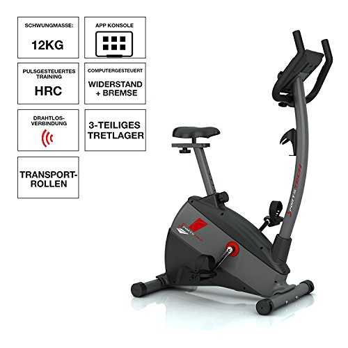Ergometer SPORTSTECH ESX500 mit Smartphone App Steuerung + Google Street View Lauf + 5,5 Zoll Display, 12KG Schwungmasse, Pulsgurt kompatibel – Fitness Bike Heimtrainer mit flüsterleisem Riemenantrieb - 2