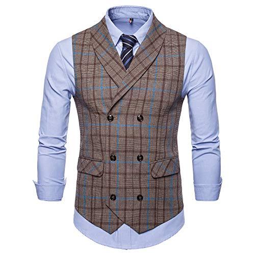 Sannysis Anzugweste Herren Herbst Winter Vintage Plaid Einreihig Anzug Weste Ärmellose Jacke Elegant Basic Mantel Stilvoll Vest Regular Design Bluse Slim Fit -