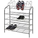 MIADOMODO Schuhregal | für 18 Paar Schuhe, 4 Ablageflächen, 70x89x27cm | Schuhablage Regal aus Eisen, Schuhständer