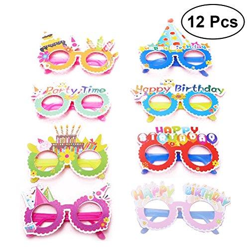 (TOYMYTOY Gute Zum Geburtstag Papier Party Gläser 12pcs | Neuheit Brillen, Kids Party Favors Lieferungen)