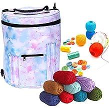 Bolsa de tejer para lana y lana, Eleoption Premium grande tejer bolsa de almacenamiento para