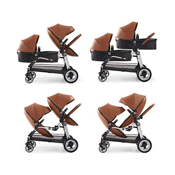 CHEERALL Double Baby Stroller Eggshell Twin High Landscape Pushchair Foldable Front And Rear Seat Adjustable Backrest Newborn Buggy,Brown CHEERALL TWIN STROLLER: Getting everywhere with two little ones has never been easier, thanks to the Double Strollers; you can glide around town even when you only have one hand free to steer; you can even roll through a standard size doorway. SEAT ORIENTATION ADJUSTABLE & ADJUSTABLE BACKREST :Arbitrarily convert the seat orientation to meet the needs of different age groups. The backrest can adjust to fit baby's sleep posture to keep comfortable sleeping. SAFETY WHEELS & DOUBLE BRAKE:The front wheel has dual shock absorption and 360° universal rotation for easy to control direction and safety. The rear wheel is made of PU material, which is wear-resistant and has a long service life..In the process of pushing, if you want to brake urgently, you can directly step on the crossbar under the seat with your foot, and the pedaling area is large. 2