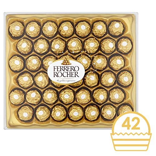 Ferrero Rocher Chocolate Gift Set, Hazelnut and Milk Chocolate Pralines, Box of 42 Pieces