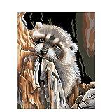 DIY Digital Malen nach Zahlen Codierung Ölgemälde Umrahmt von Box Otter Tiere Acrylbild Wandkunst Segeltuch Wohnkultur Kunstwerk 16 × 20 Zoll Geburtstag Hochzeit Weihnachten das Erntedankfest Geschenk für Kinder und Erwachsene