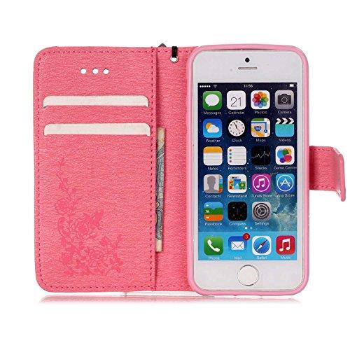 Cover iphone 5S, Cover iphone 5S, Alfort Cover Protettiva Premium PU di alta qualità Flip Case Cover per Apple iphone 5S 4.0 Smartphone Cover di Cuoio Flip Stand Ci sono funzioni di supporto e portaf Rosa