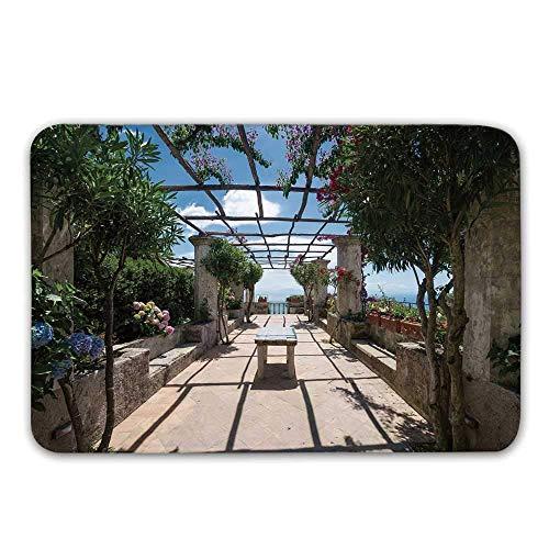 LIS HOME Italienisches Dekor rutschfeste Gummi Eingang Teppich, schönes Panorama Villa Rufolo Ravello Amalfi Küste historische berühmte Natur Fußmatte für Haustür Badematte (Küsten-badematte)