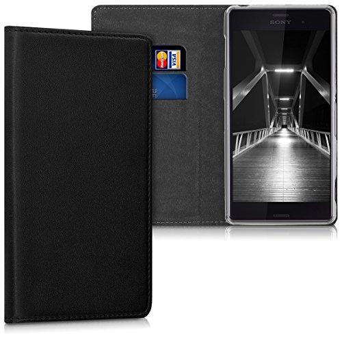 kwmobile Bookstyle Kunstleder Case mit Ständer Funktion für das Sony Xperia Z3 in Schwarz - Elegant und aufwendig gestaltet Xperia Z3 Case Ständer