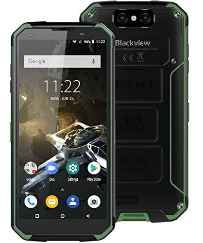 Blackview BV9500 Plus (2019) Outdoor Smartphone ohne Vertrag - Helio P70 Octa Core, 10000 mAh Akku, 4 GB + 64 GB, 5,7 Zoll FHD +, Android 9.0 IP68 Robustes Handy, Kabellose Aufladung GPS - Grün