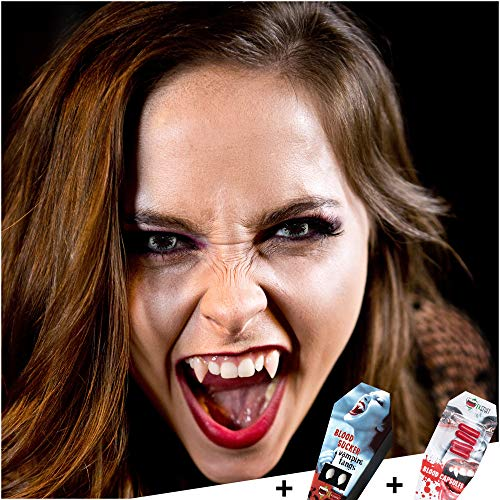 FXCONTACTS Großes Halloween Bundle, Kontaktlinsen + Behälter + Vampirzähne + Kunstblut Kapseln, Horror Halloween Kostüm Damen Herren