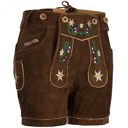 PAULGOS Damen Trachten Lederhose + Träger, Echtes Leder, Kurz in 8 Farben Gr. 34-50 M1, Damen Größe:36, Farbe:Hellbraun