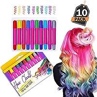 Juego de Lápices Tiza de Pelo – Tinte Pastel Temporal para todo tipo de Cabello –– 10 Colores de Pintura Capilar para Coloración - Accesorio de Belleza para Niñas y Adolescentes