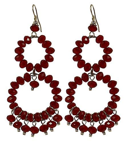Kya 1 red - orecchini donna, 2 cerchi con pendenti, in cristallo rosso