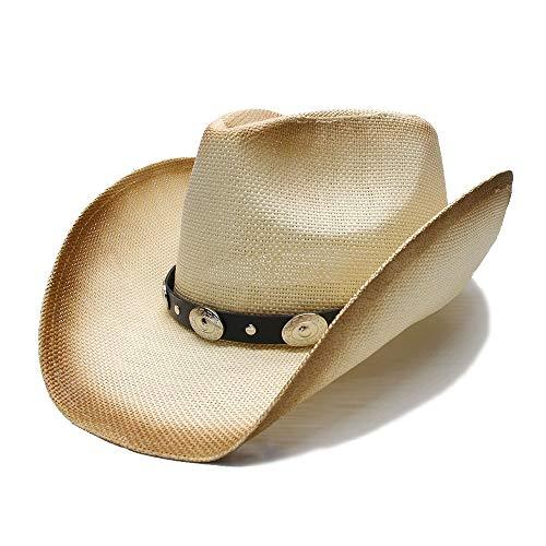 Perlen Cowgirl Hut (ZHOUQINMEI Punk Style Damen Herren Sonnenhut Unisex Sommer Stiel Panoptic Krempe Strand Cowboy Western Cowgirl Fedora Hut Legierung Perlen Lederband (Farbe : 1, Größe : 56-58CM))