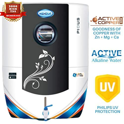 Nexqua Dew Alkaline RO+UV+UF+TDS Water Purifier with High 3000 TDS Membrane (Black)