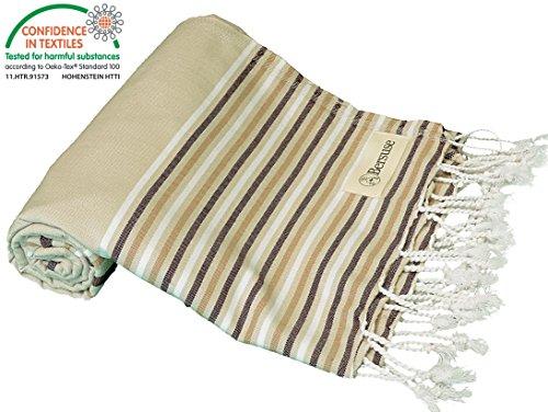 Bersuse 100% Baumwolle - Teos Türkisches Handtuch - OEKO-TEX zertifiziert - Badestrand Fouta Peshtemal - Reichhaltige Farben mit Streifen Pestemal - 100X180 cm, Beige-Braun (Ombre-streifen-schals)
