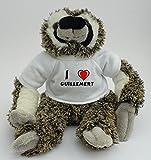 Peluche paresseux personnalisé avec un T-shirt J'aime Guillemert (Noms/Prénoms)