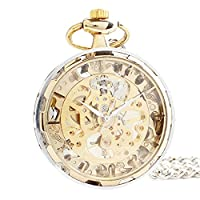 Joielavie Pocket Watch Hollow Skeleton Mechanical Movement Gold Tone Without Cover Retro Alloy Single Chain Watches Gift For Men Women