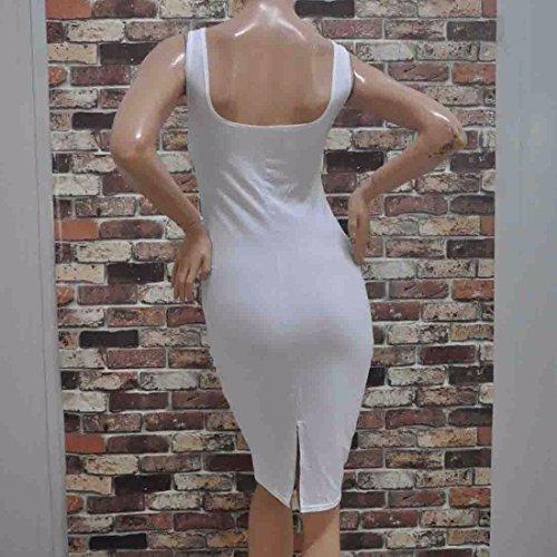 QIYUN.Z Couleur Unie Sans Manches Blanche Moulante Femmes Sexy Robe D'ete Package Hanche Mince Blanc