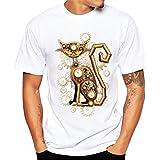 T Shirt GreatestPAK Herren Designable Kreative Druck T-Shirt Hemd Kurzarm Bluse Joker T-Shirt,Gelb,XXXL