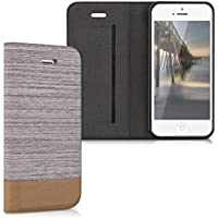 kwmobile Flip cover custodia per Apple iPhone SE / 5 / 5S - Custodia protettiva cover a forma di libro in ecopelle e tessuto grigio chiaro marrone