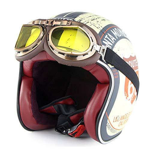 HAOHOAWU Motor Motorradhelm, Vintage-Stil Motorradhelm UV-Schutz Visier Sonnenbrille Männer Frauen Elektrohelm Komfortabel Und Atmungsaktiv,Yellow,L
