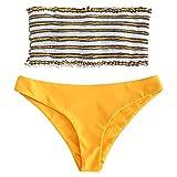 ZAFUL Damen Zweiteilige Gepolsterte Bikini Sets Gestreiftes Bandeau mit Rüschen Bademode Sommer (Gelb, M)