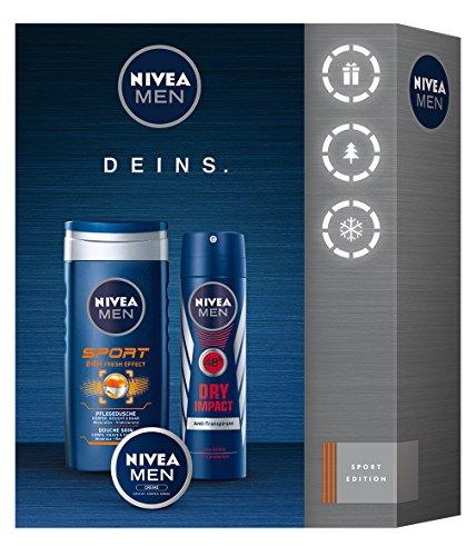 Creme Körper Duschgel (NIVEA Men Geschenkset für Männer mit Duschgel, Deodorant und Creme, Sport, 3 Stück)