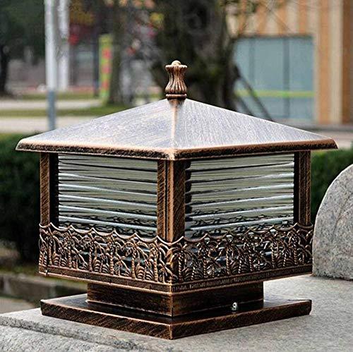 MICHEN Schwarz Bronze Vintage Säule Licht Gartentor Post Lampe Glas Laterne Outdoor Patio Hof Landschaft Beleuchtung Nachtlampe,Brown -