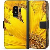 Samsung Galaxy S9 Plus Tasche Leder Flip Case Hülle Sonnenblumen Gelb Yellow
