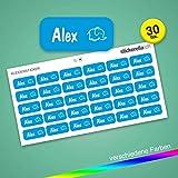 Stickerella - 30 Namensaufkleber für Kinder - Namensetiketten für Schule und Kindergarten, personalisierbar, permanent, wasserfest (11 x 26 mm) (hellblau)