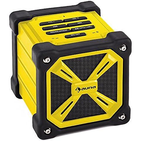 Auna TRK-861 Altavoz Portátil Bluetooth Amarillo (robusta carcasa contra salpicaduras de agua, gestión de llamadas y reproducción a través de teclas, batería integrada, Bass-Boost)