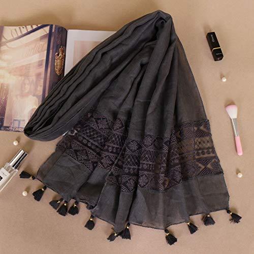 Kostüm Kopf Übergroßer - Hmeili Schal Ethnischen Kostüm Krawatte Gefärbt Weibliche Nähte Spitze Elegante Quaste Kopf Bs529