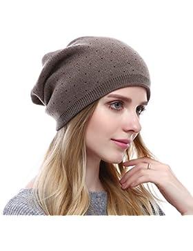 VEMOLLA Cappello Berretto per le donne a maglia di lana con diamante  sintetico e16c4b9c7eba