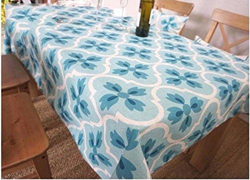 GAIHU Tischdecke Rechteck Blau und Grün Tischdecke frische Tischdecke Tuch Pflanze Blumen wählen (Farbe: A, Größe: 180*140 - Rechteck Tischdecke Blau
