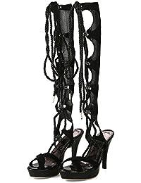 AQOOS Sandalias de vestir de piel para mujer