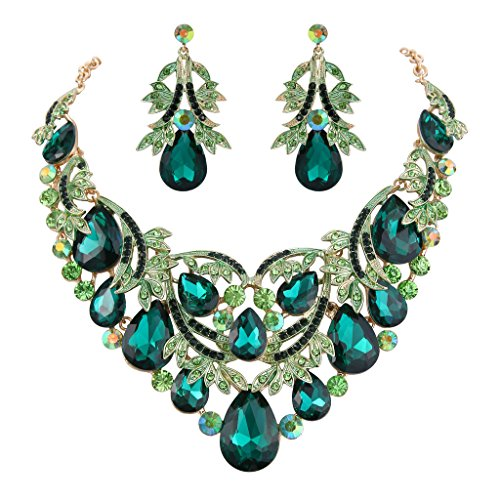 Clearine Damen Böhmisch Boho Tropfen Filigran Blatt Aushöhlen Statement Halskette Dangle Ohrringe Set Smaragd-Farbe Gold-Ton